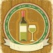 White wine bottle label.Vintagel background on old paper texture - Stockvectorbeeld
