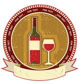 Eski kağıt dokusu üzerinde kırmızı şarap şişesi label.vintagel arka plan — Stok Vektör