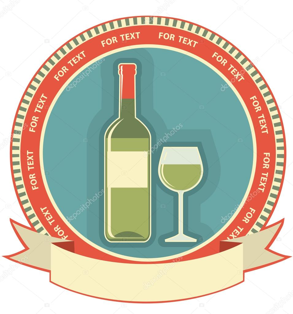 White wine bottle label.Vector symbol background for text — Stock Vector #13284516