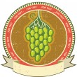 Grapes label with scroll for text on old grunge paper - Stockvectorbeeld