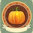 Pumpkin label with scroll for text.Vector vintage icon on old p — Stock Vector #13342311