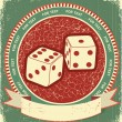 Dices label on old background.Vector grunge illustration - ベクター素材ストック