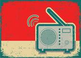 Retro radio.Vector grunge poster on old texture — Stock Vector