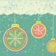 Abstract christmas card on snow background with balls - Stockvectorbeeld