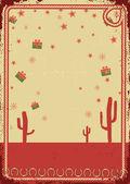 Cowboy-weihnachtskarte mit seil rahmen für text auf vintage poster — Stockvektor
