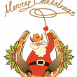 Santa in cowboy shoes and lasso sit on lucky horseshoe.Vector is — Stock Vector