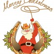 Santa in cowboy shoes and lasso sit on lucky horseshoe.Vector is - Stock Vector