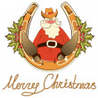 Santa in cowboy shoes sit on lucky horseshoe.Vector isolated on - Stock Vector