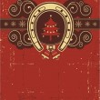 Royalty-Free Stock 矢量图片: Vintage red Christmas background with horseshoe and tree