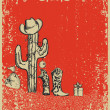 Christmas card with cowboy boots and cactus on old grunge paper — Stock Vector