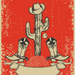 Grunge red christmas card with cowboy boots and cactus on old pa — Stock Vector