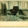 Stock Photo: Vintage Cowboy background with western boots on old paper
