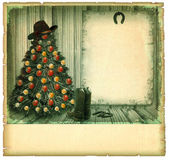 Cowboy christmas card.American vintage background — Stock Photo