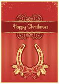 подкова на красном фоне рождество с холли берри и текст — Cтоковый вектор
