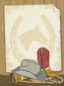 Cowboy background with boots and hat.Vector old paper — Stock Vector