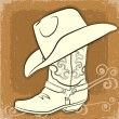 Cowboy boot and hat.Vector vintage image — Stock Vector