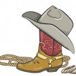 Cowboy boot with western hat isolated on white — Stock Vector