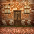 Antique exterior with old door and windows for design - Stock Photo