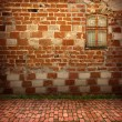 Antique exterior with dirty old window for design - Stock Photo