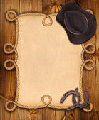 Kovboy geçmiş ile ipi çerçeve ve batılı kıyafetler — Stok fotoğraf