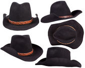 Cowboy black hats isolated on white background for design — Stock Photo