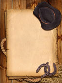 Western background with cowboy hat and horseshoe. — Stock Photo