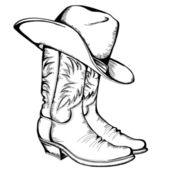 Cowboy boots and hat.Vector color illustration isolated for desi — Stock Vector