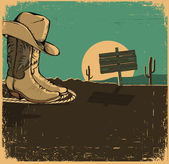 Western illustration with cowboy shoes and desert landscape on o — Stock Vector