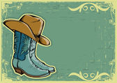 Cowboy boots .Vector image with grunge background for text — Stock Vector