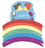 Gay couple kissing on abstract rainbow .Vector sketch illustrati — Stock Vector