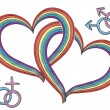 Rainbow hearts with gay symbols.Vector isolated on white - Stock Photo