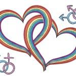 Rainbow hearts with gay symbols.Vector isolated on white — Stock Photo