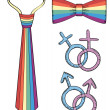 Gay symbols.Rainbow tie and bow tie isolated on white - Stock Photo