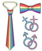 Gay symbols.rainbow slips och fluga isolerad på vit — Stockfoto