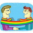 Постер, плакат: Happy gays couple with hands together Vector cartoons image