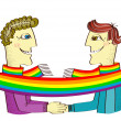 Постер, плакат: Happy gays couple with hands together Vector cartoons image isol