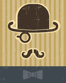 Gentlement with mustache and hat on vintage card background. — Stock Vector