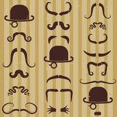Bıyık ve vintage kartı arka plan üzerinde şapkalı huzurunuzda. — Stok Vektör