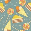 Candies seamless pattern.Vector sweets color background - Stock Vector