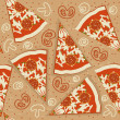 Pizza seamless pattern.Vector food background - Stock Vector
