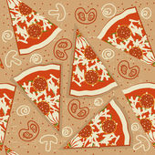 Pizza seamless pattern.Vector food background — Stock Vector