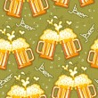 Beer seamless pattern.Vector glasses of beer background - Stock Vector