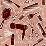 Hairdressing equipment seamless pattern.Vector background — Stock Vector