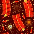 Chinese fireworks seamless pattern.Vector illustration for backg - Imagen vectorial
