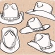 Stock Vector: Cowboy hat collection isolated on white for design
