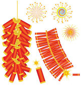 Chinese red fireworks .Vector isolated on white — Stock Vector