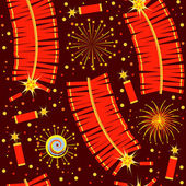 Chinese fireworks seamless pattern.Vector illustration for backg — Stock Vector