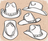 Cowboy hat collection isolated on white for design — Stock Vector