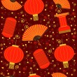 chinese red lanterns seamless pattern.vector background — Stock Vector