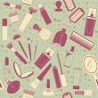 Cosmetics seamless pattern.Vintage background on old texture - Stock Vector